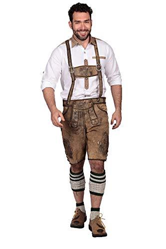 Oktoberfest Bavarian Herren Short Lederhosen for Men with Embroidery | Halloween Costume | Traditional Authentic German Outfit | Brown