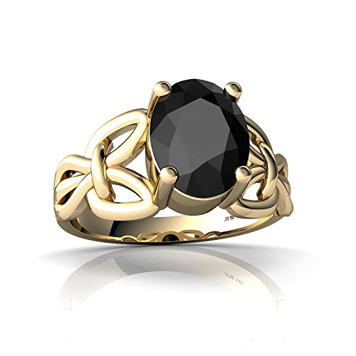 14kt Yellow Gold Black Onyx 9x7mm Oval Celtic Knot Ring - Size 9