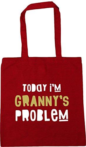 HippoWarehouse Today I'm Granny's Problem Tote Shopping Gym Beach Bag 42cm x38cm, 10 litres Classic Red