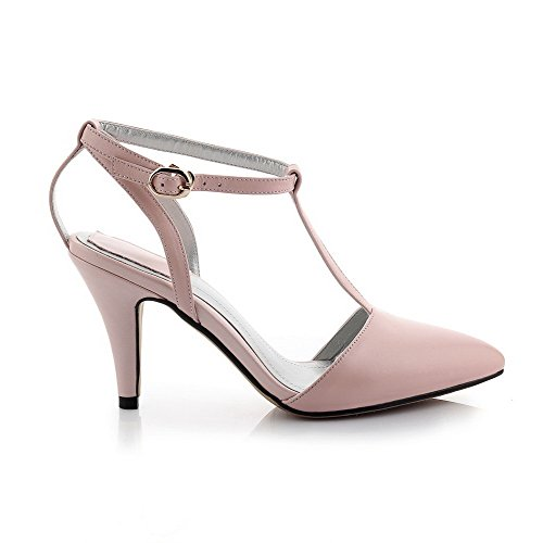 AmoonyFashion Womens Solid Cow Leather Spikes Stilettos Pointed Closed Toe Buckle Pumps Shoes Pink RzsziAYVU