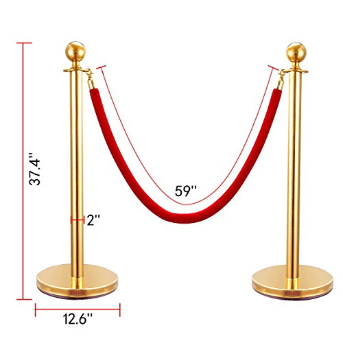 SKEMiDEX---6 PCS Velvet Rope Stanchion Gold Post Crowd Control Queue Line Barrier. Sturdy bases with stainless steel plates provides additional stability Easy assembly no special tools needed by SKEMiDEX (Image #2)