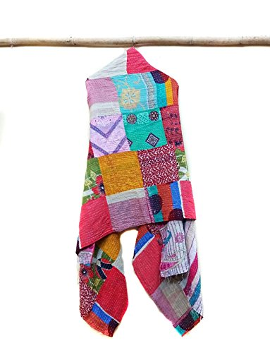 Vintage Dupatta Long Stole Cotton patchwork Hand Embroidered Kantha Scarves