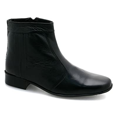 Mens Zip Up Pleated Ankle Black Leather Boots UK 12: Amazon.co.uk ...