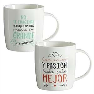 Tazas desayuno originales frases positivas set de 2 mug for Tazas para desayuno