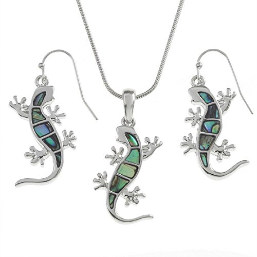 Liavy's Gecko Lizard Charm Pendant Fashionable Shell Necklace & Earrings Set - Abalone Paua Shell - Fish Hook - 18