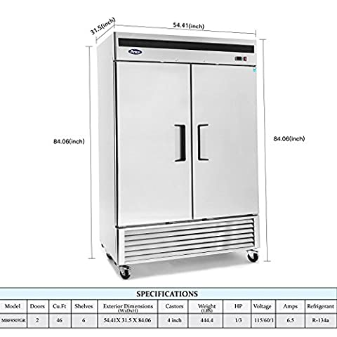 Commercial Refrigerator,ATOSA MBF8507 Double 2 Door Side By Side Stainless Steel Reach in Commercial Refrigerators for…