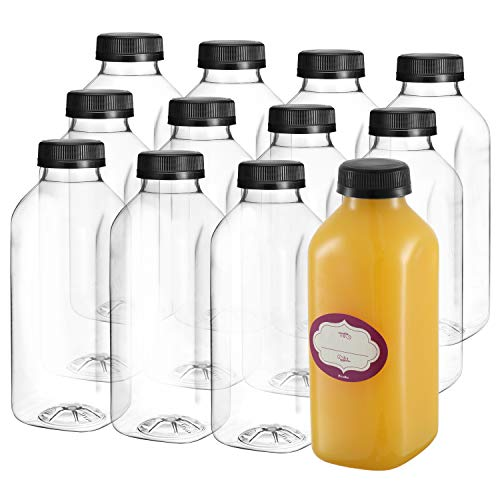 16 Oz Empty Plastic Juice Bottles with Lids - 12 Pack Large Square Drink Containers - Great for Storing Homemade Juices, Water, Smoothies, Tea and Other Beverages - Food Grade BPA Free