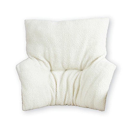 (Faux Sheepskin Deluxe Back Rest Support Cushion - Lower Back Support and Comfort for Chair or Bed, Beige, 32