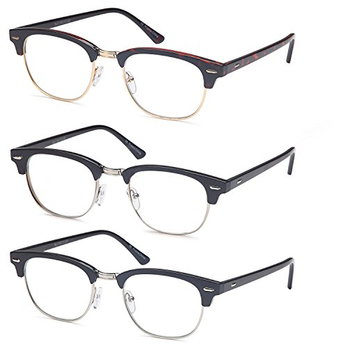 Gamma Ray Reading Glasses - 3 Pairs Classic Readers for Men and Women - 1.25