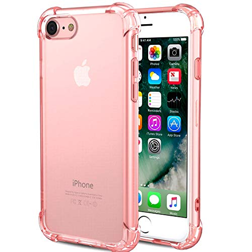 CaseHQ iPhone 6 Plus Case, iPhone 6s Plus Case,Crystal Clear Shock Absorption Bumper Slim Fit,Heavy Duty Protection TPU Cover Case for Apple iPhone 6 Plus/iPhone 6s Plus -Rosegold