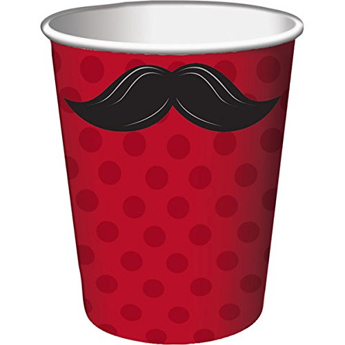 Creative Converting Mustache Madness Hot or Cold Beverage Cups, 8-Count ()