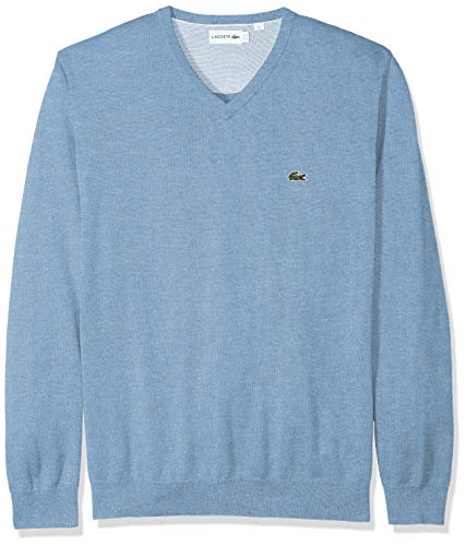 Lacoste Men's Long Sleeve Half Moon V Neck Jersey Sweater, Flour/IPOMEE Chine, ()