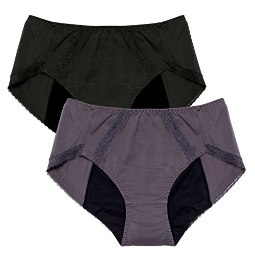 Intimate Portal Women Girls Period Panties Incontinence Leak Proof Menstrual Underwear 2-pk Black Gray Medium