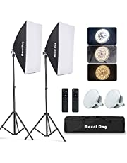 MOUNTDOG Softbox Lighting Kit Studio Photography Continuous Lights Softbox With Dimmable LED 3 Colors Bulbs (85W/5700K), 2 Pcs Remote Control and Adjustable Light Stand for Portraits Fashion Advertising Photo Shooting YouTube Video