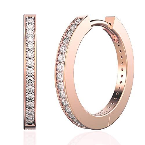 SWEETV 925 sterling silver rose gold hoop earrings for women girls - Medium huggie hoop earring cubic zirconia,Inner Diameter - Silver Earrings Hoop Gold
