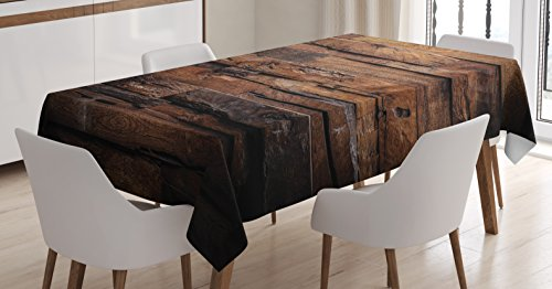 Ambesonne Chocolate Tablecloth, Rough Dark Timber Texture Image Rustic Country Theme Hardwood Carpentry, Dining Room Kitchen Rectangular Table Cover, 60 W X 84 L inches, Brown Dark Brown by Ambesonne (Image #3)