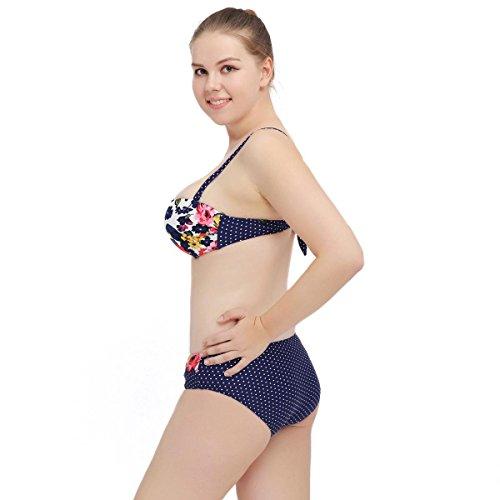 SZH YIBI La Sra gran bikini de tamaño medio ambiente fertilizantes de alta elasticidad para aumentar Europa y los Estados Unidos traje de baño partido de secado rápido Blue