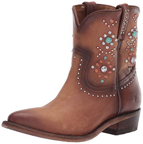 FRYE Women's Billy Stone Short Ankle Boot, Cognac, 10 M US