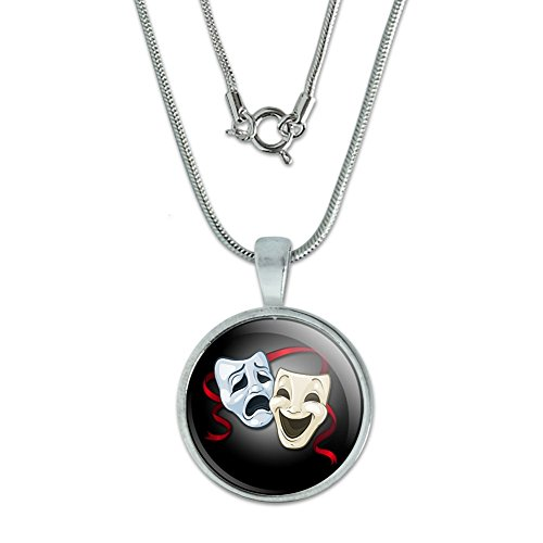 Drama Comedy Tragedy Masks - Acting Theatre Theater Pendant with Sterling Silver Plated Chain (Comedy Tragedy Drama Masks)