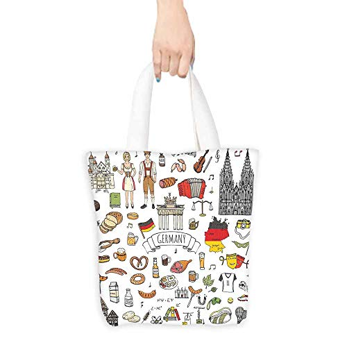 German Canvas Tote Hand Drawn Doodle of German Culture Icons Football Jersey Food Science and Music Machine Washable 16.5