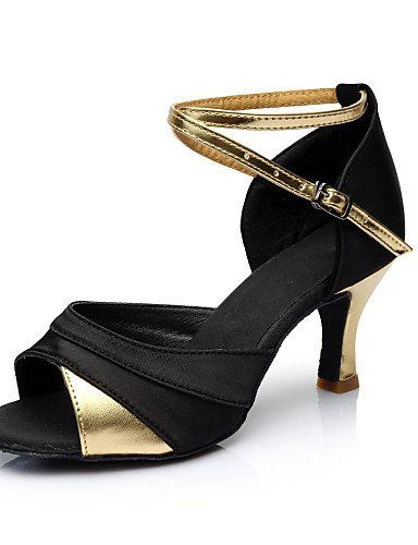 samba niña dorado ShangYi sintético de mujer de para personalizado salsa baile más y para sandalias tacón cuero zapatos Satén latinos color ZRRWq7xI