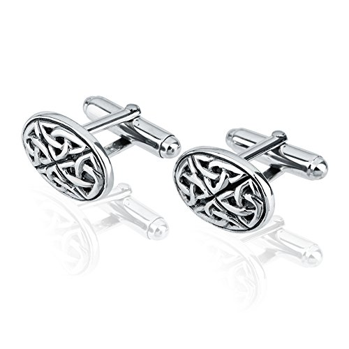925 Sterling Silver Celtic Knots Oval Cuff Links Set of Two (2), Men's Circle Cufflinks (Knot Cufflinks Silver Celtic)