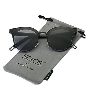 SojoS Fashion Designer Cateye Women Sunglasses Oversized Shades Flat Lens SJ1055 With Black Frame/Grey Lens