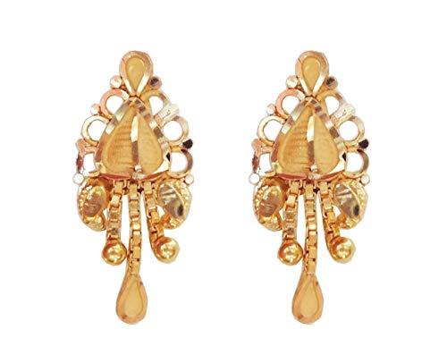 Satfale Jewellers Latest Certified Solid 22K 22 Carat Yellow Fine Gold Indian Handmade Earrings ()