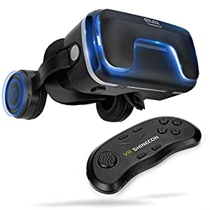 """3D Virtual Reality Headset with Remote Controller for 3D Movies and Games - VR Headset with Stereo Headphones and Adjustable Straps between 4.7 - 6 """" Smartphones"""
