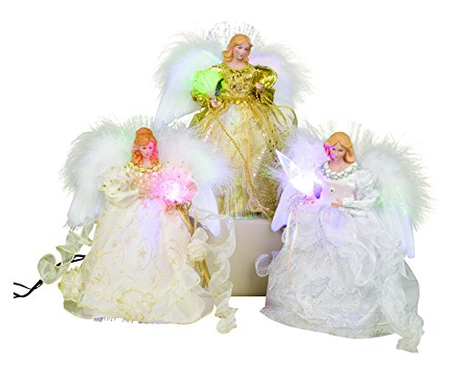 Sterling 10'' Fiber Optic White/ivory/gold Angel W/ Adaptor, 3 Asst by Sterling