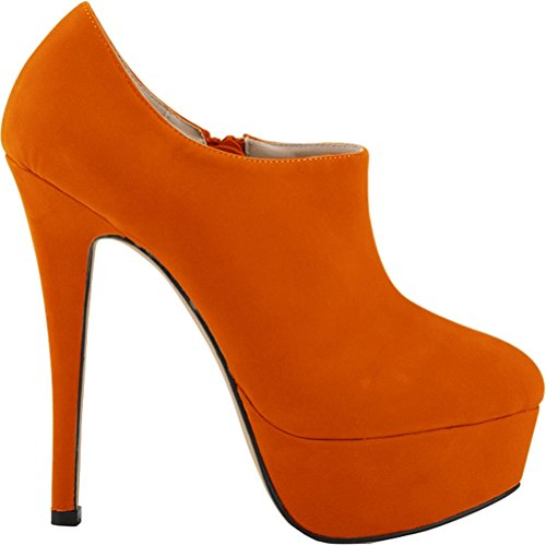 Salabobo Womens Sexy Fashion Night Club Party Platform Heighten High Heel Closed Toe Zip Nubuck Pumps Orange UyPgpFCp