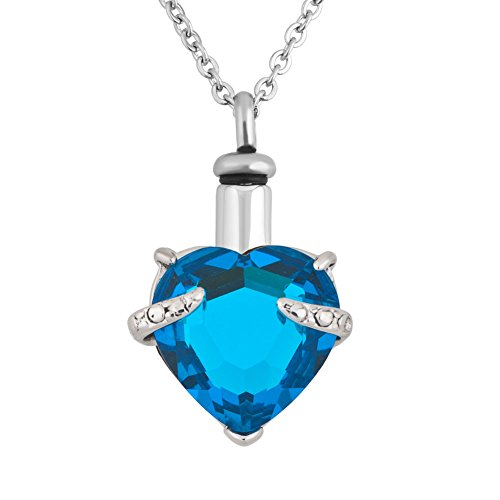 (Lantern Low December Birthstone Heart Cremation Urn Necklace for Ashes Jewelry Memorial Keepsake Pendant)
