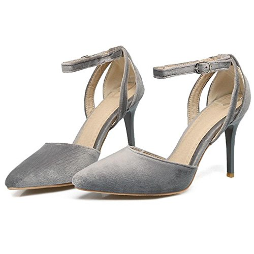 TAOFFEN Women D'Orsay Heels Pumps Shoes Straps Grey ywU3ca