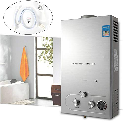 BSTOOL 18L Natural Gas Hot Water Heater 36KW Tankless Instant Boiler Wall-Mounted w/Shower Head (18L, Natural Gas)