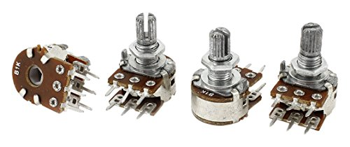 Uxcell a14071400ux0718 4 Piece 1K Ohm 15 mm Shaft B Type Linear Dual Rotary Rotatable Taper Potentiometer