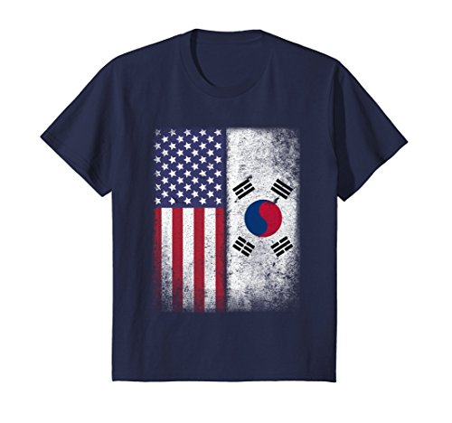 Kids South Korea Flag T-shirt South Korean 8 Navy