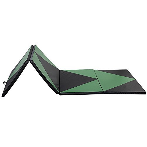 Gymnastics Mat 4'x10'x2'' Thick Folding PU Panel Gym Fitness Exercise Yoga Activities Aerobics Mats Stretching Green-Black Color by pittayadomeshop
