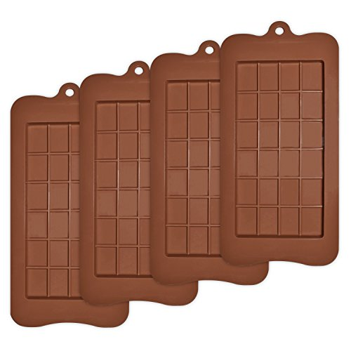 homEdge Break-Apart Chocolate, Set of 4 Packs Food Grade Non-Stick Silicone Protein and Energy Bar Molds ()
