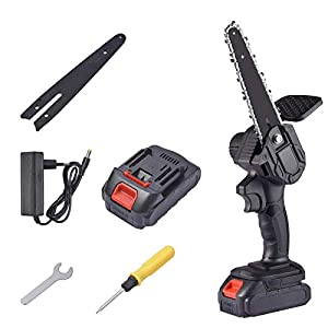 neversaynever Mini Chainsaw, 6-Inch 550W Cordless Electric Portable Chain Saw with Rechargeable Battery One-Handed…