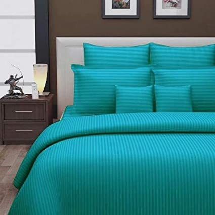 Urban Space - Regal 210TC Cotton Double King Size Bedsheet with 2 Pillow Covers, 108 * 108 inch, Sateen Stripes, Sea Blue