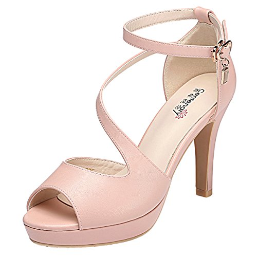Kiwii Women Fashion Graceful Peep Toe Strap Belt Buckle Party Wedding Stiletto Heels Pump Shoes(8 B(M) US, Pink) (Alden Dress Belt)