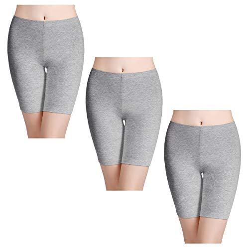 wirarpa Womens Anti Chafing Cotton Underwear Boy Shorts Long Leg Under Dresses Biker Short Leggings 3 Pack Heather Gray Size 8 ()