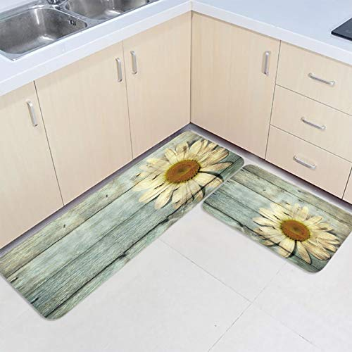 Prime Leader 2 Piece Non-Slip Kitchen Mat Runner Rug Set Doormat Wooden Board Sunflower Door Mats Rubber Backing Carpet Indoor Floor Mat(15.7