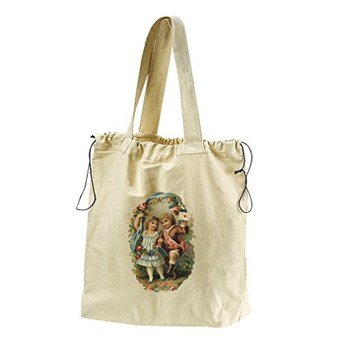 Couple Of Kids With Letter Valentines Day Canvas Drawstring Beach Tote Bag by Style in Print