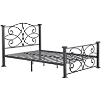 Hodedah Complete Metal Queen-Size Bed with Headboard, Footboard, Slats and Rails in Black-Silver