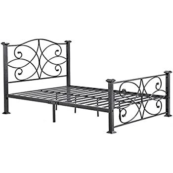 Amazon.com: HODEDAH IMPORT Hodedah Complete Metal Queen-Size Bed ...