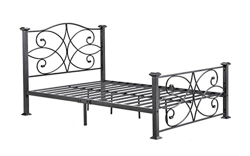 Hodedah Complete Metal Queen-Size Bed with Headboard, Footboard, Slats and Rails in Black-Silver ()
