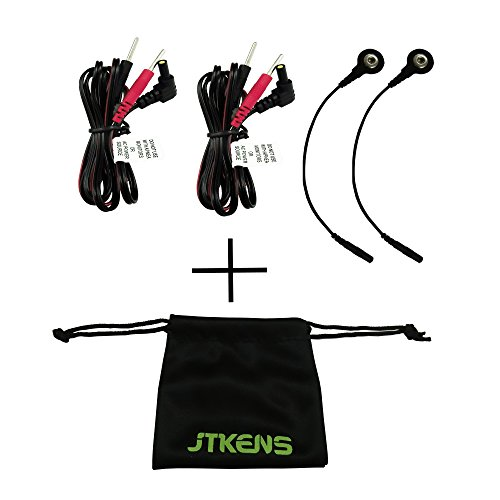 2pcs Replacement Electrode Lead Wires Connect Cables 2mm Pin & 2 Lead Wire Adaptors For TENS 7000 and TENS Electronic Therapy Machines with Free JTKENS Bag ()