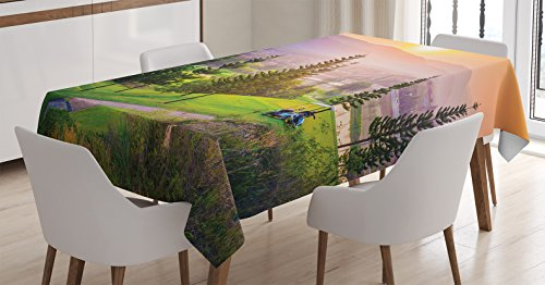 Ambesonne Nature Tablecloth, Golf Resort Park in Spring Season with Trees Sunset Hills and Valley End of The Day, Rectangular Table Cover for Dining Room Kitchen Decor, 60