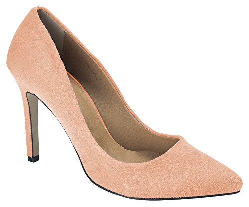 Pumps Womens AnnaKastle Heel Office Peach Dress Toe Pink Suede 100mm Stiletto Shoes Pointy 6rxOxwZ0tq